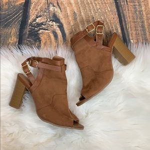 Qupid • Brown Suede Wedges